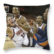 Sean Singletary And Lars Mikalauskas Celebrate Uva Win Over Arizona Throw Pillow