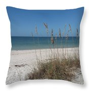 Seaoats And Beach Throw Pillow