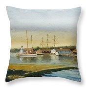 Seaport Lighthouse Throw Pillow