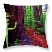 Searching For Friends Among The Redwoods Throw Pillow