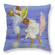 Searching For Shells Throw Pillow