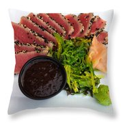 Seared Tuna With Ginger Throw Pillow