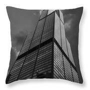 Sears Willis Tower Black And White 01 Throw Pillow