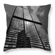 Sears Willis Tower Black And White 02 Throw Pillow