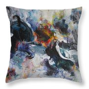 Seascape Abstract Painting Blue Purple Orange Acrylic Painting Throw Pillow