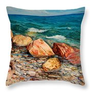 Seascape - Red Rocks  Throw Pillow