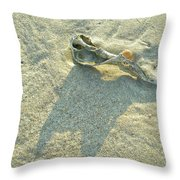Seashell And Shadow On Sand Throw Pillow