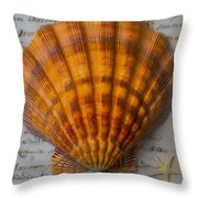 Seashell And Words Throw Pillow