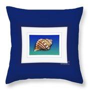 Seashell Wall Art 1 - Blue Frame Throw Pillow