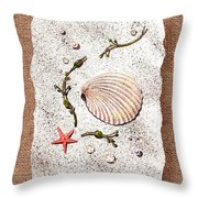 Seashell With Pearls Sea Star And Seaweed  Throw Pillow