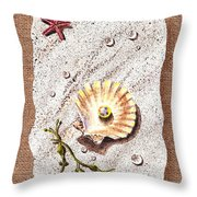 Seashell With The Pearl Sea Star And Seaweed  Throw Pillow