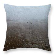 Seashells On Foggy Beach Throw Pillow
