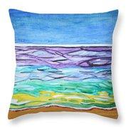 Seashore Blue Sky Throw Pillow