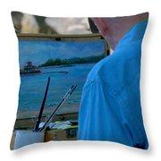 Seaside Artist Throw Pillow