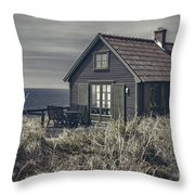 Seaside Cottage At Dusk Throw Pillow