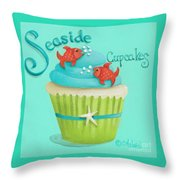 Seaside Cupcakes Throw Pillow