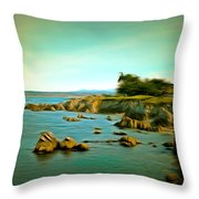Seaside In The Distance Digital Throw Pillow