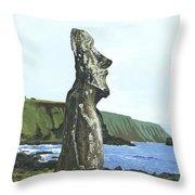 Seaside Moai Throw Pillow