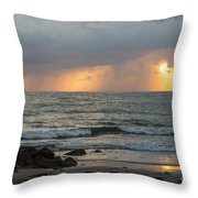Seaside Rainstorm Throw Pillow