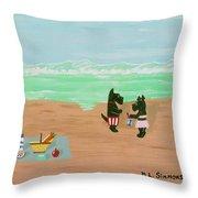 Seaside Scotties Throw Pillow