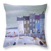 Seaside Seagulls Throw Pillow