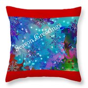 Season Greetings - Snowflakes Throw Pillow