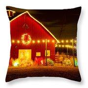 Seasons Greetings Barn Throw Pillow