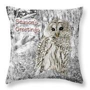 Season's Greetings Card Winter Barred Owl Throw Pillow