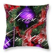 Seasons Greetings - Greeting Card - Purple - Red - Gold Throw Pillow