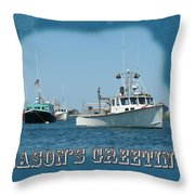 Season's Greetings Holiday Card - Boats In Peaceful Harbor Throw Pillow