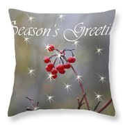 Seasons Greetings Red Berries Throw Pillow