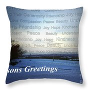 Seasons Greetings Wishes Throw Pillow