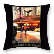 Season's Greetings - Yellow And Blue Umbrella - Holiday And Christmas Card Throw Pillow