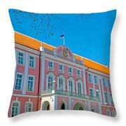 Seat Of Parliament In Old Town Tallinn-estonia Throw Pillow