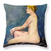 Seated Blond Nude Throw Pillow