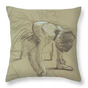 Seated Dancer Adjusting Her Shoes Throw Pillow
