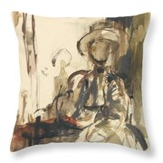 Seated Figure Woman Seated, Wearing Throw Pillow