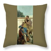 Seated Man Woman With Jar And Boy Throw Pillow
