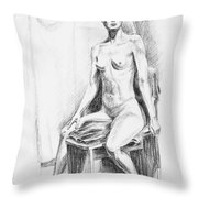 Seated Model Drawing  Throw Pillow