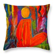 Seated Monk Throw Pillow