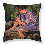 Seated Young Woman Throw Pillow by Marie Clementine Valadon