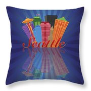 Seattle Abstract Skyline Reflection Background Illustration Throw Pillow