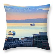 Seattle And Elliott Bay Throw Pillow
