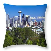 Seattle And Mt. Rainier Throw Pillow