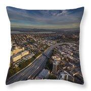 Seattle And Rainier Golden Light Throw Pillow