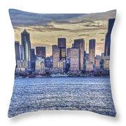 Seattle At Twilight From Alki Beach Throw Pillow
