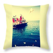 Seattle Boat Throw Pillow