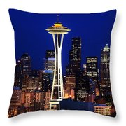 Seattle By Night Throw Pillow