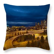 Seattle City Skyline At Blue Hour Throw Pillow