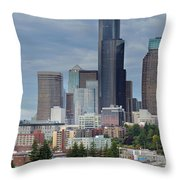 Seattle City Skyline At Rush Hour Throw Pillow